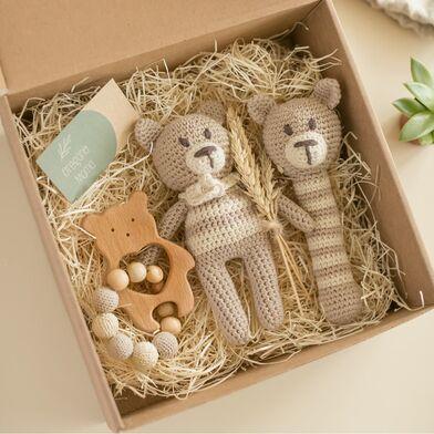 Подарочный набор эко игрушек для малышей Oregano Mama, вязаные игрушки мишки из хлопка и дерева