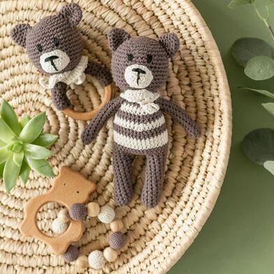 Подарочный набор эко игрушек для малышей Oregano Mama, вязаные медведи из хлопка и дерева