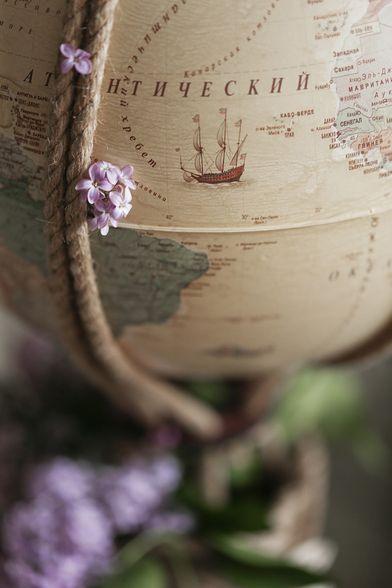 Шар для интерьера с картой мира